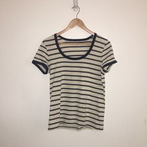 Madewell White with Blue Stripes T-shirt